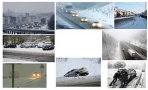 montage of winter driving images