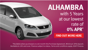 5 year 0% APR finance on all SEAT Alhambra models