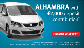 £2,000 deposit contribution and 5.9% APR on all new SEAT Alhambra models