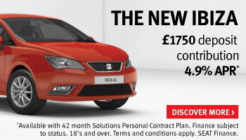 Up to £1,750 deposit contribution on new SEAT Ibiza models with 4.9% APR